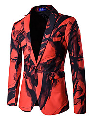 Men's Casual/Daily Club Spring Fall Blazer,Print Notch Lapel Long Sleeve Regular Cotton Polyester