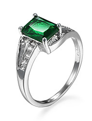 Women's Ring Emerald AAA Cubic Zirconia Simple Style Fashion Zircon Cubic Zirconia Alloy Jewelry For Party Casual