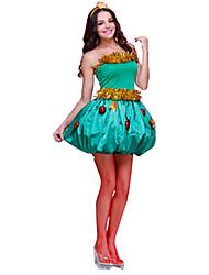 Festival/Celebração Trajes da Noite das Bruxas Verde Cor Única Vestido / Decoração de Cabelo Natal Feminino