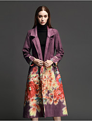 ANGEL Women's Casual/Daily Simple CoatPrint Long Sleeve Winter Black / Purple Polyester Thick