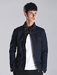 Men's Party/Cocktail Vintage / Street chic Jackets,Solid Stand Long Sleeve All Seasons Black Cotton