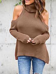 Damen Standard Pullover-Ausgehen Lässig/Alltäglich Urlaub Sexy Einfach Street Schick Solide Patchwork Blau Rot Braun Grün Langarm