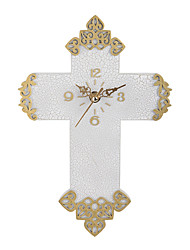 1PC Do The Old Fashion Retro Color Christian Gifts Cross European Watch Silent Wall Clock