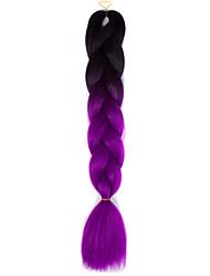 Black Purple Ombre Crochet 24 Yaki Kanekalon 2 Tone Jumbo Braids 100g Synthetic Hair