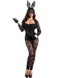 Cosplay Costumes Party Costume Career Costumes Bunny Girls Festival/Holiday Halloween Costumes Black SolidCoat Leotard/Onesie Gloves