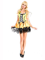 Animal Fairytale Festival/Holiday Halloween Costumes Black Yellow Print Dress WingsHalloween Christmas Carnival Children's Day New Year
