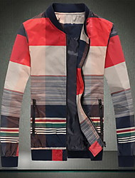 Men's Casual/Daily / Work Simple Jackets,Color Block Stand Long Sleeve Fall Red / Orange Cotton Thin