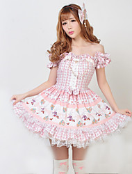 One-Piece/Dress Classic/Traditional Lolita Princess Cosplay Lolita Dress Pink Solid Short Sleeve Medium Length Dress For Women Polyester