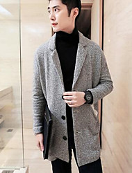 Men's Casual/Daily / Work Simple Jackets,Solid Halter Long Sleeve Spring Gray Cotton