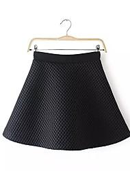 Damen Röcke,A-Linie einfarbig / PunkteAusgehen / Lässig/Alltäglich Vintage / Street Schick / Chinoiserie Hohe Hüfthöhe Mini Reisverschluss