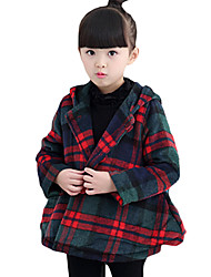 Girl Casual/Daily Plaid Trench Coat,Cotton Winter Long Sleeve