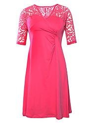 Women's Rosy Lavish Lace Half Sleeves Plus Dress