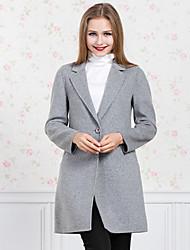 GATHER BEAUTY Women's Casual/Daily Simple CoatSolid Notch Lapel Long Sleeve Fall / Winter Gray Wool