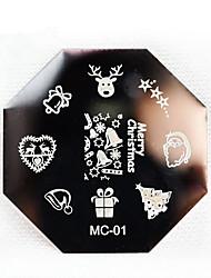 le style 3pcs noël plaque de l'ongle en acier inoxydable nouveau clou série art stamp