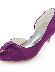 Women's Heels Spring / Fall Others Stretch Satin Wedding / Party & Evening / Dress Kitten Heel Satin Flower Fuchsia Others