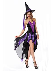 Costumes de Cosplay Sorcier/Sorcière Cosplay de Film Violet Couleur Pleine Robe / Chapeau Halloween / Carnaval Féminin Polyester