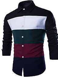 Men's Casual/Daily Simple Shirt,Color Block Square Neck Long Sleeve Black / Green Cotton