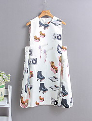 Women's Work Cute Loose Dress,Print Round Neck Above Knee Sleeveless Multi-color Cotton All Seasons Mid Rise Micro-elastic Medium