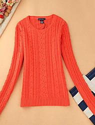 Damen Kurz Pullover-Lässig/Alltäglich Einfach Solide Rot Grün Orange Rundhalsausschnitt Langarm Baumwolle Herbst Mittel Mikro-elastisch