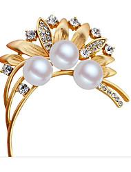 Damen Broschen Perle Gold Gold/Weiß Schmuck Hochzeit Party