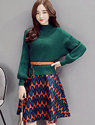 Women's Casual/Daily Simple Fall / Winter Set Skirt Suits,Color Block Turtleneck Long Sleeve Green Polyester Medium