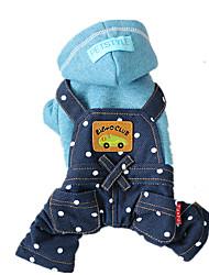 Hunde Kapuzenshirts Overall Blau Rosa Hundekleidung Winter Frühling/Herbst Jeans Cowboy Modisch