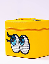 Makeup Storage Cosmetic Bag / Makeup Storage PU Solid 23*17*19 Yellow