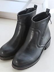 Damen-Stiefel-Lässig-PU-Blockabsatz-Komfort-Schwarz / Braun / Grau