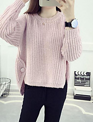 Damen Standard Pullover-Ausgehen Lässig/Alltäglich Einfach Solide Rosa Beige Braun Grau Rundhalsausschnitt Langarm Baumwolle Herbst Mittel