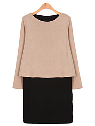 Large yards women Long sleeves Round neck Splicing Fake two Was thin Dress