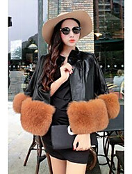 Women's Casual/Daily Simple Fur Coat,Solid Long Sleeve Pink / Red / Black / Gray Fox Fur