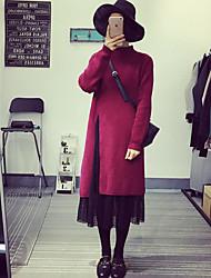 Damen Lang Pullover-Lässig/Alltäglich Einfach Solide Rot Schwarz Asymmetrisch Langarm Baumwolle Frühling Herbst Mittel Mikro-elastisch