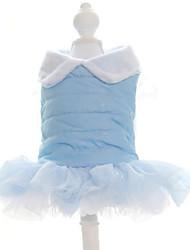 Chien Robe Bleu Vêtements pour Chien Hiver / Printemps/Automne Couleur Pleine Garder au chaud