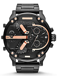 Hombre Reloj Militar Reloj de Moda Cuarzo Calendario Acero Inoxidable Banda De Lujo Dorado Negro Gris Dorado Negro/Azul Negro/Oro