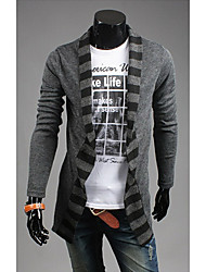 Men's Casual/Daily Simple Regular Cardigan,Print Black Gray Round Neck Long Sleeve Polyester All Seasons Medium Micro-elastic
