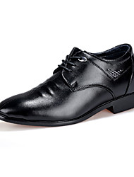 Men's Oxfords Spring Summer Fall Winter Comfort PU Casual Low Heel Lace-up Black