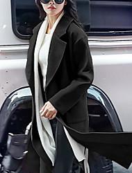 Manteau Femme,Couleur Pleine Sortie Chic de Rue Manches Longues Rouge / Noir / Orange Polyester Moyen