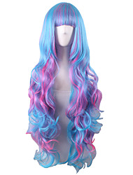 Long Body Wave Full Side Bang Synthetic Wigs Mix Blue Pink Heat Resistant Cosplay Wigs