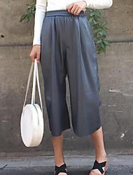 Feminino Solto Chinos Calças-Cor Única Casual Simples Cintura Média Elasticidade PU Micro-Elástico Outono / Inverno