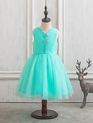 A-Line/Princess Knee-length Flower Girl Dress - Satin/Tulle Sleeveless V-neck With Beading