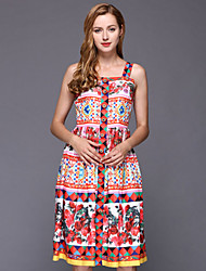 STEPHANIE Women's Casual/Daily Vintage Shift DressFloral Strap Knee-length Sleeveless Red Cotton / Polyester Spring High Rise Inelastic Thin