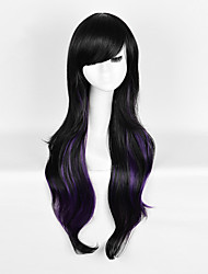 Trendy Natural Black mixed Purple Wave Beauty Synthetic Wig with Bang