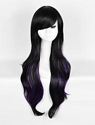 модный натуральный черный смешанный фиолетовый волна красоты синтетический парик с челкой