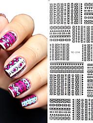 1 pc Tribal Geo Pattern Nail Water Decals Black Grid Transfer Nail Art Stickers YE-314 DIY Nail Art Decorations