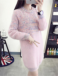 Women's Going out / Beach / Holiday Sexy / Cute / Chinoiserie Sweater Dress,Solid Round Neck Knee-length Long Sleeve Pink / Beige / Gray