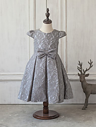Princess Tea-length Flower Girl Dress - Satin / Tulle Short Sleeve Scoop with Bow(s) / Lace