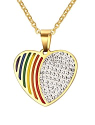 Men's Pendant Necklaces Jewelry Rainbow Heart-Shaped Party/Daily/Christmas/Casual Fashion Stainless Steel/Gold Plated/Rhinestone Multicolor1pc Gift