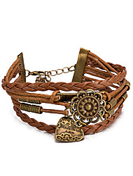 Women's Wrap Bracelet Leather Bracelet Bracelet Loom Bracelet Leather Alloy Heart Khaki Jewelry 1pc