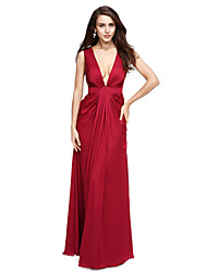 TS Couture® Formal Evening Dress Sheath / Column V-neck Floor-length Satin Chiffon with Draping