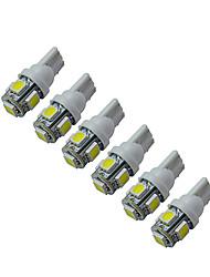 Jiawen® 6pcs t10 1w 5x5050smd 60-90lm 6000-6500k lumière de voiture blanche à LED (dc 12v)